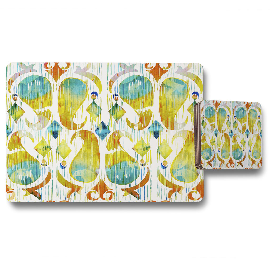 New Product Ikat vibrant (Placemat & Coaster Set)  - Andrew Lee Home and Living