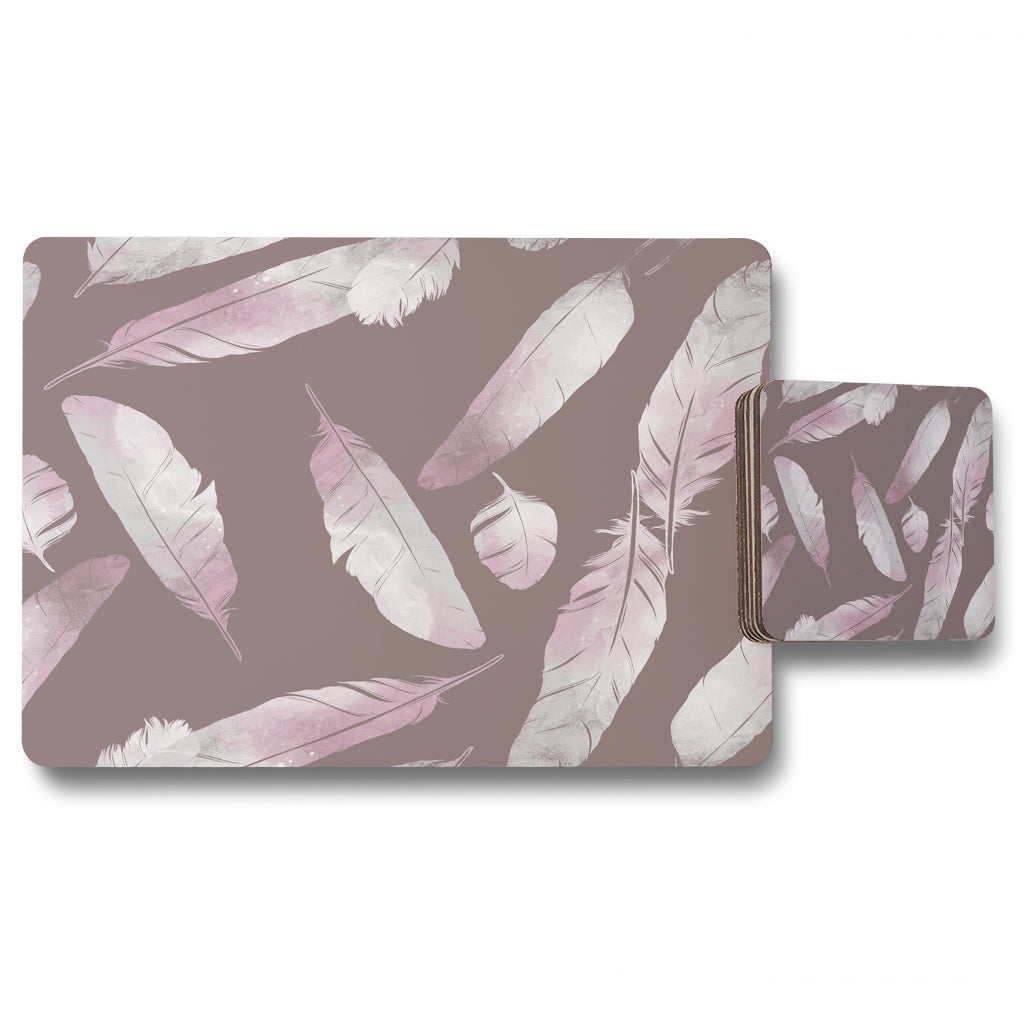 New Product Imprints bird feathers (Placemat & Coaster Set)  - Andrew Lee Home and Living