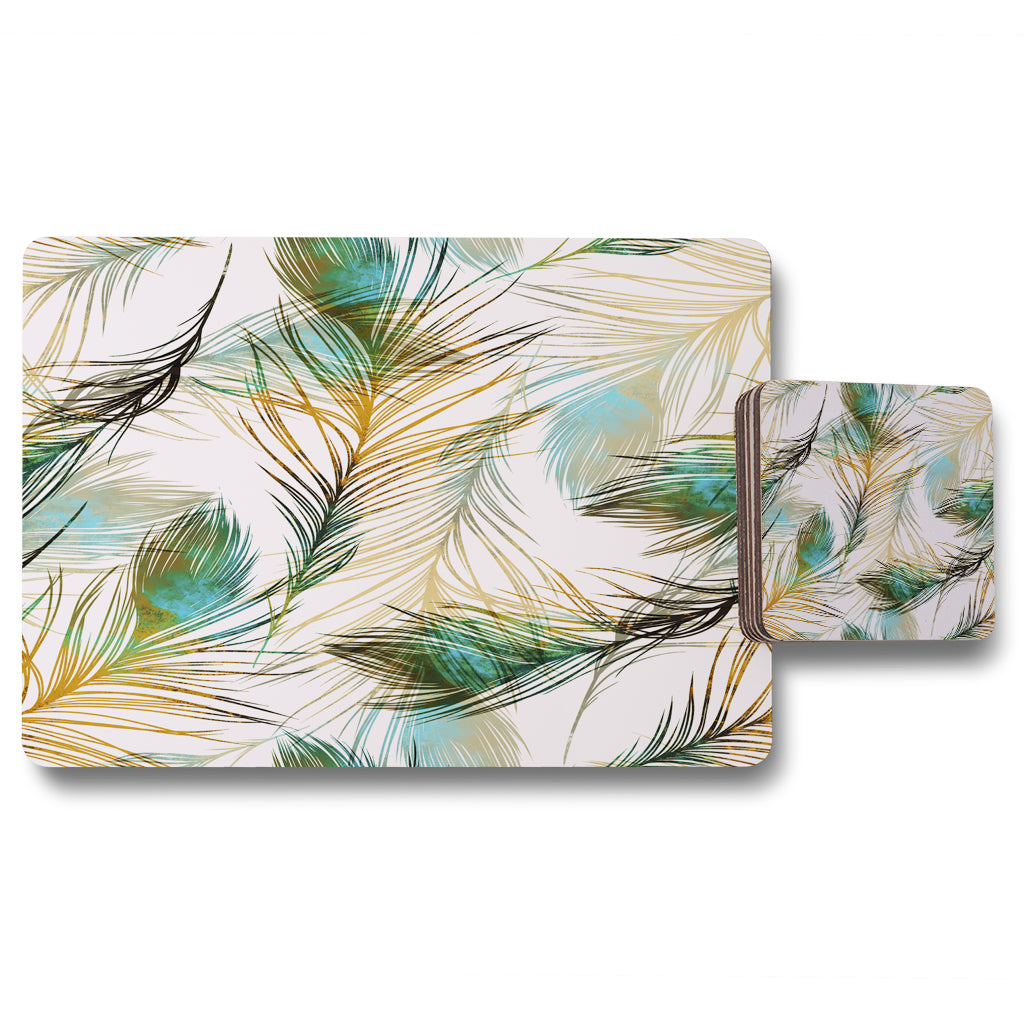 New Product Imprints peacock feathers (Placemat & Coaster Set)  - Andrew Lee Home and Living