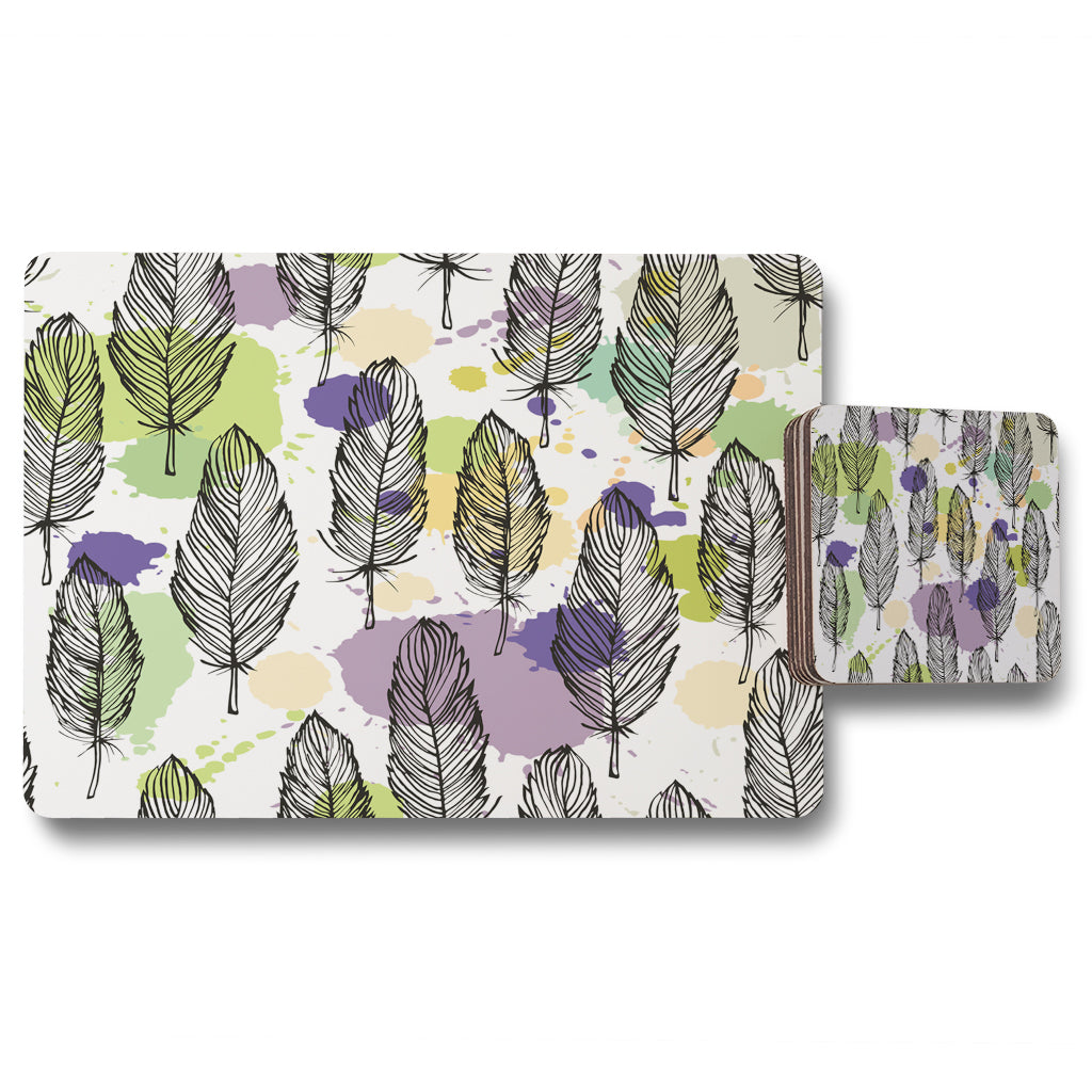 New Product Spotted colored feather seamless pattern, vector background (Placemat & Coaster Set)  - Andrew Lee Home and Living
