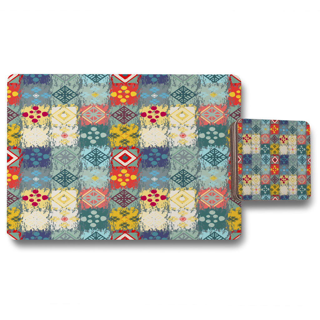 New Product Tribal art boho (Placemat & Coaster Set)  - Andrew Lee Home and Living