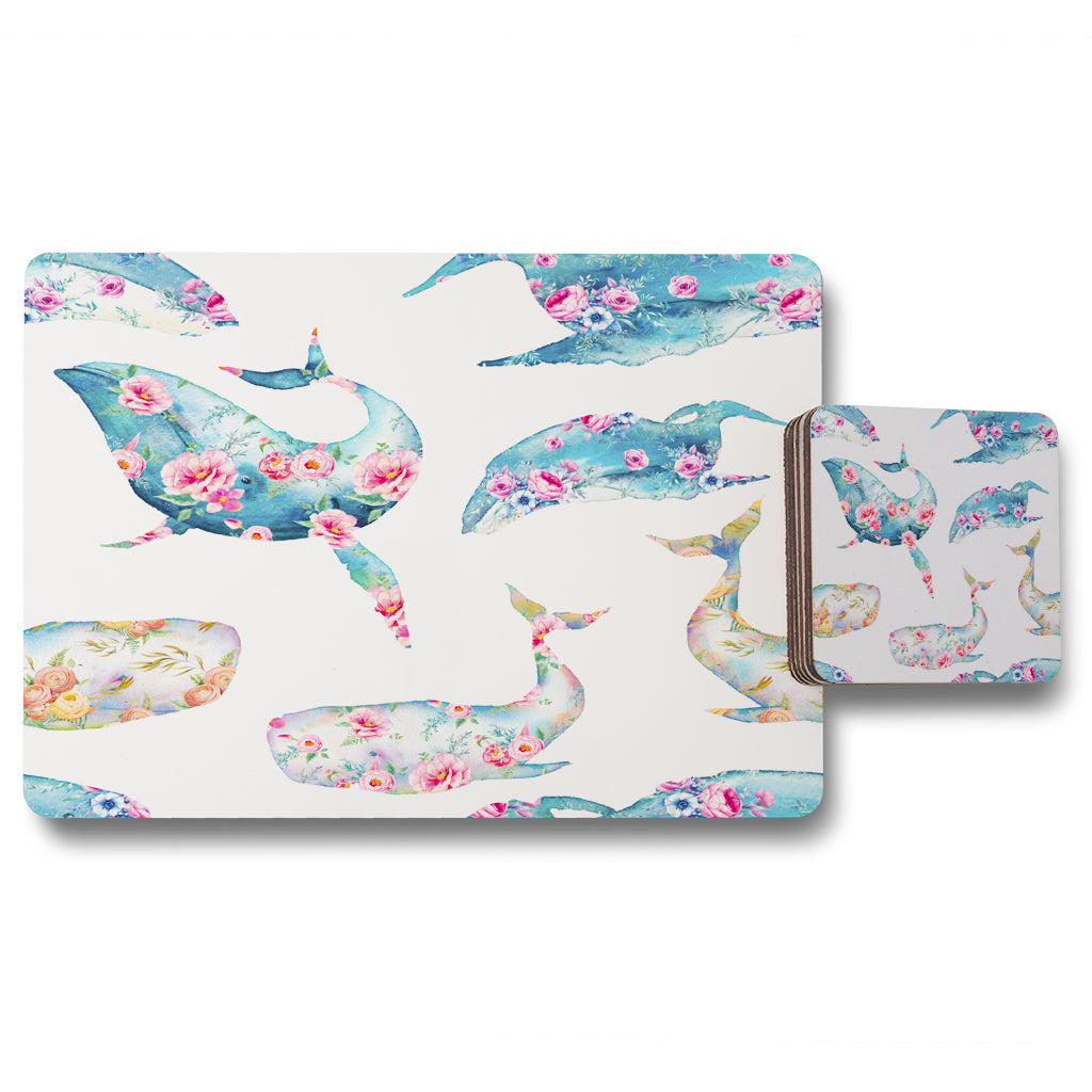 New Product Whale with flowers (Placemat & Coaster Set)  - Andrew Lee Home and Living