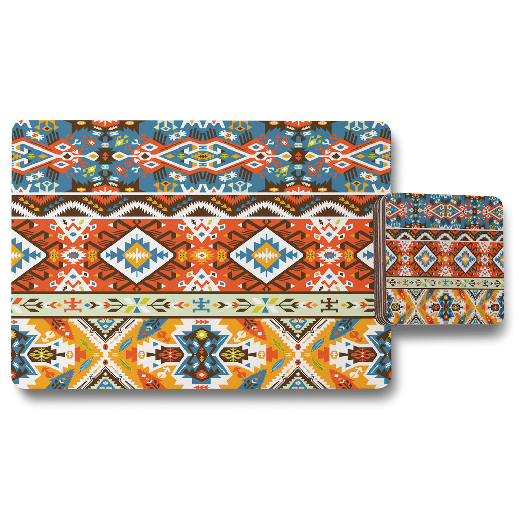 New Product Colorful pattern in tribal style (Placemat & Coaster Set)  - Andrew Lee Home and Living