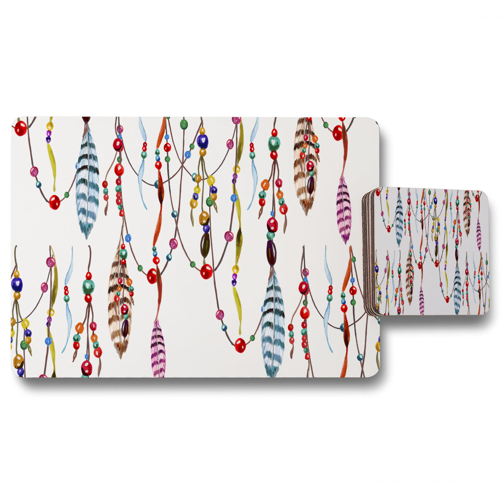 New Product Ribbon & Bead (Placemat & Coaster Set)  - Andrew Lee Home and Living
