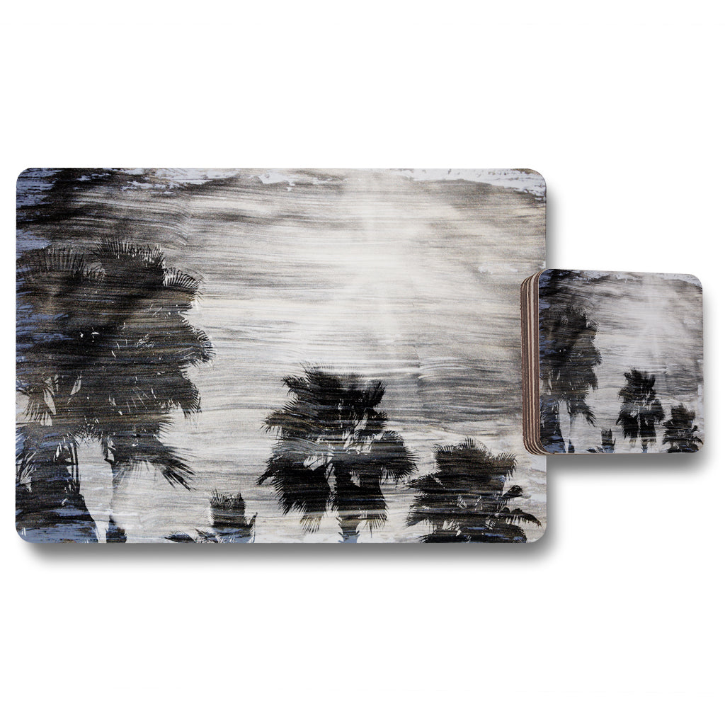 New Product silver and black palm (Placemat & Coaster Set)  - Andrew Lee Home and Living