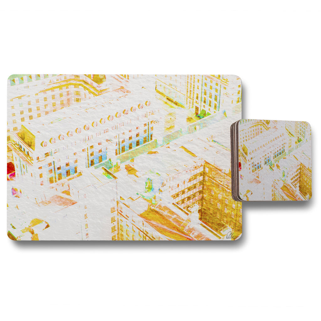 New Product LONDON ROOF TOPS ORANGE (Placemat & Coaster Set)  - Andrew Lee Home and Living