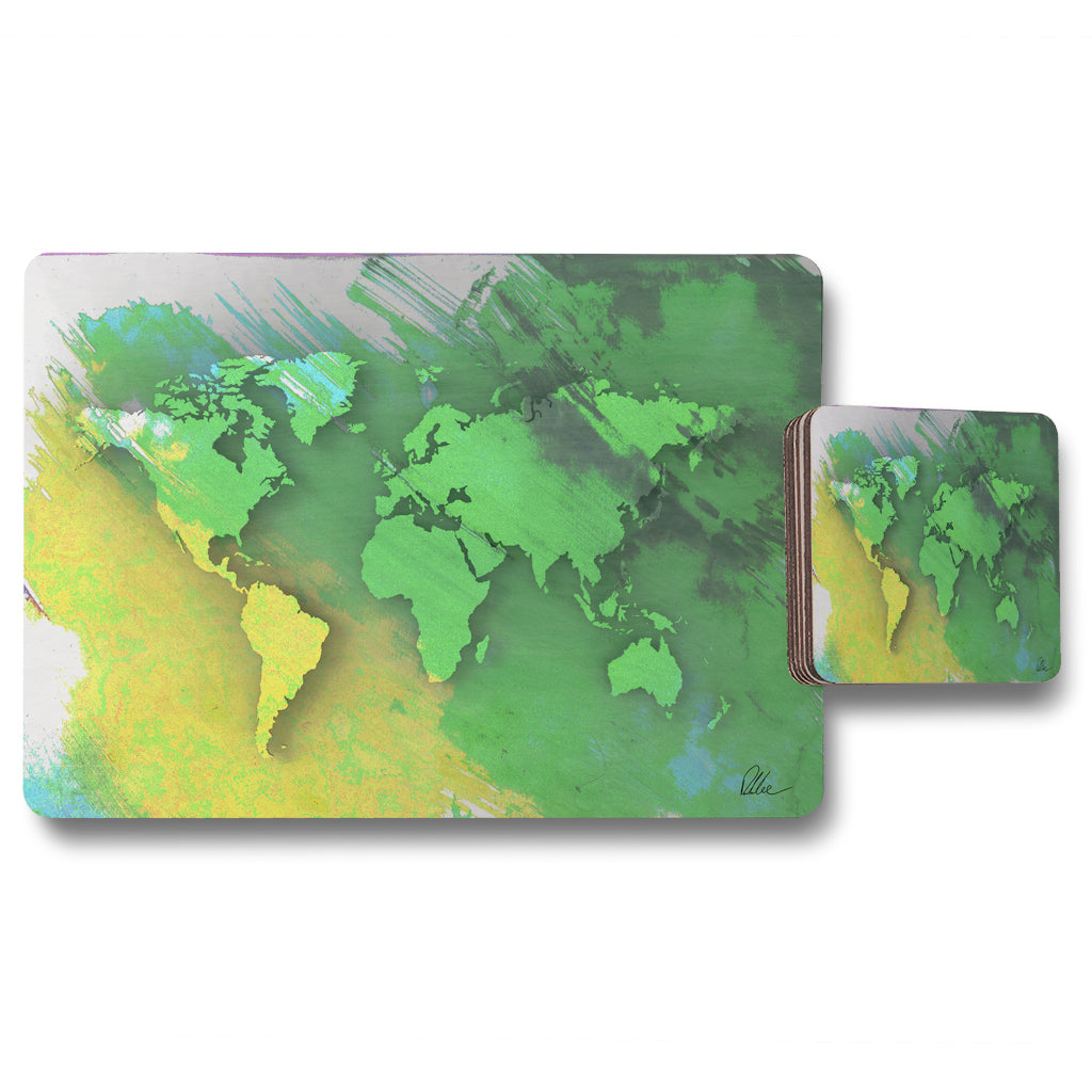 New Product World map yellow and green (Placemat & Coaster Set)  - Andrew Lee Home and Living
