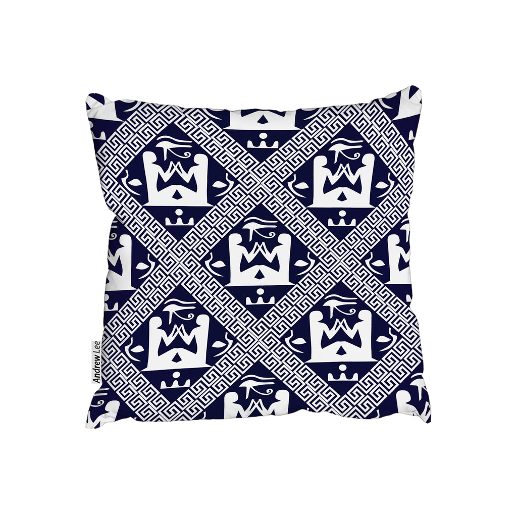 New Product Egyptian Hieroglyphs in Navy (Cushion)  - Andrew Lee Home and Living