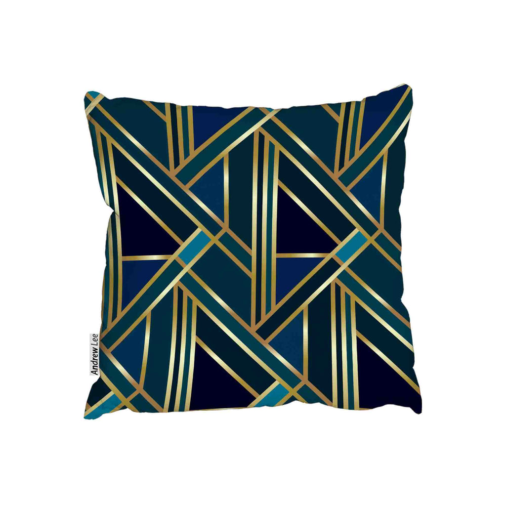 New Product Gold & Teal Geometric Pattern (Cushion)  - Andrew Lee Home and Living