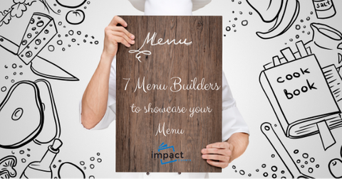 Menu template image of a chef holding a wooden menu