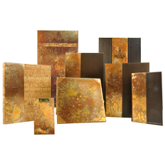 Carmel Country Club menu collection constructed from faux leather, faux cork, and handcrafted copper with sunbubble finish