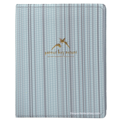 Heatsealed vinyl menu cover with sewn perimeter and gold foil stamped logo for Parrot Key Resort