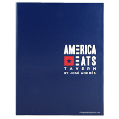 Faux leather menu cover with 2 color foil stamped logo for America Eats, a Jose Andres restaurant