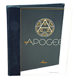 Clear acrylic menu cover with 2 color silkscreened logo and genuine leather back cover and spine for Apogee