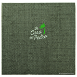 Hunter green faux grasscloth menu cover with 2 color stamped logo in cover for Casa de Pedro
