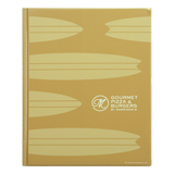 Vinyl heatsealed menu cover with silkscreened logo for Gourmet Pizza and Burgers