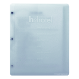 Frosted poly 2 part menu cover with Chicago post binding for H2Hotels