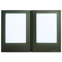 Faux leather lighted menu cover with two light-up interior panels for Indigo