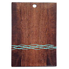 Stained solid wood clipboard with laser engraved and color filled artwork for Jumby