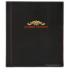 Genuine leather menu cover with 2 color embroidered logo for Marcels