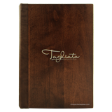 Solid wood stained mahogany menu cover with laser engraved and color filled logo for Tagliata