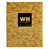 Faux cork menu cover with glossy black foil stamped logo for Wild Horse