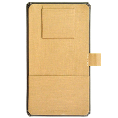 Faux leather single panel check presenter with linen panel, credit card pocket and receipt pocket, and pen loop for Zylos