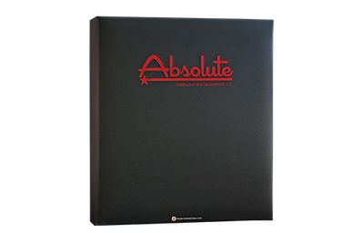 Black Euro faux leather binder cover with red foil debossed artwork.