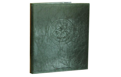Rich green faux leather guest service directory cover with blind debossed artwork.