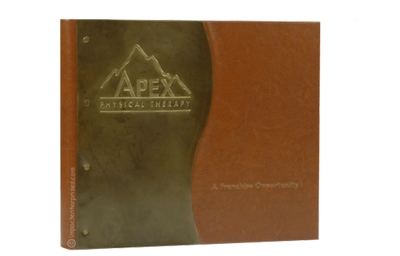 Distressed medium brown faux leather binder cover with a dark brass wave design.
