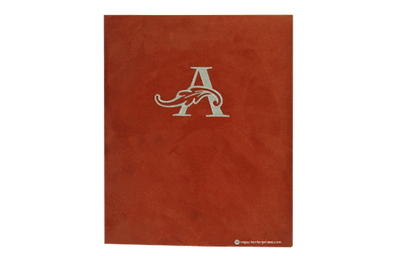 Rich red suede faux leather menu cover with silver thread embroidered logo.