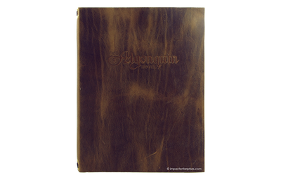 Genuine leather menu cover with a distressed patter and blind debossed artwork.