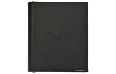 Black textured faux leather zippered binder with blind debossed artwork.