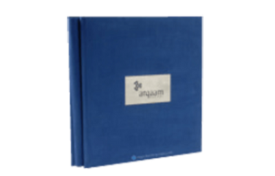 Blue suede leather binder with a laser-engraved stainless steel plate.