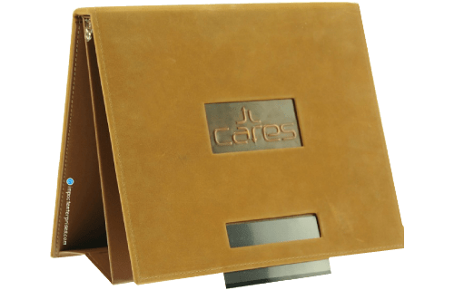Genuine saddle leather easel binder with sewn perimeter, removable name panel, and die cut window with embossed copper logo plate in cover for CARES