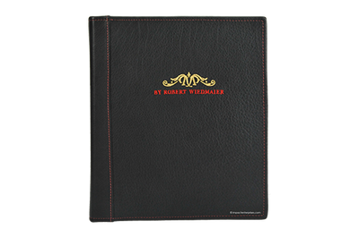 Leather menu cover with 2-color embroidered logo on front.