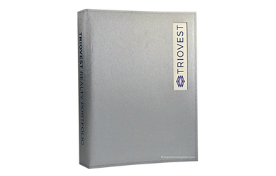 Grey metallic leather binder with a poly plate in a die-cut window