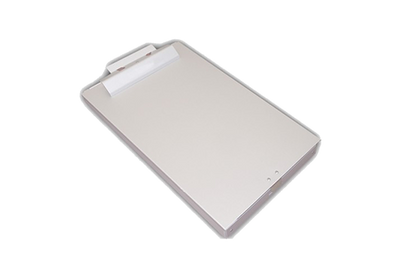 Solid aluminum clipboard boxes with a matte satin finish and low profile clip.