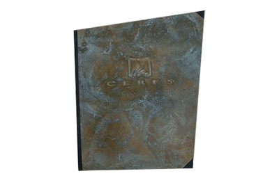 Brass binder cover with dark olive brass finish with natural patina through out.