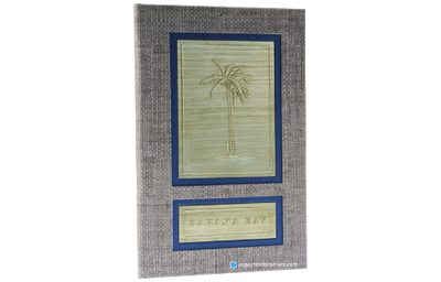 Dark tan faux grasscloth menu cover with a midnight blue new-age linen and linen brushed brass.