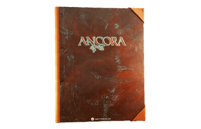 Recycled medium copper menu cover with blue/green patina logo and leather spine and exterior corners.