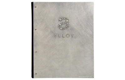Aluminum menu cover with an industrial chic stroked finish.