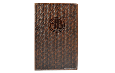Leather diamond patterned menu cover.