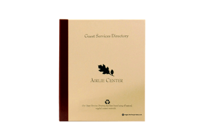 Recycled craft paper guest service directory cover with recycled leather quarterbind spine.