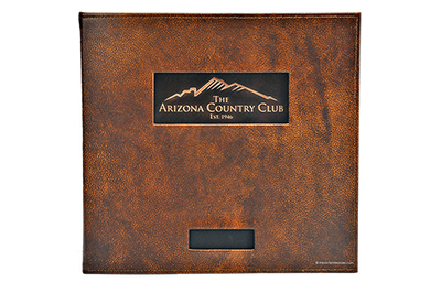 Rich brown with textured finish leather binder with dark copper plate and a removable insert.