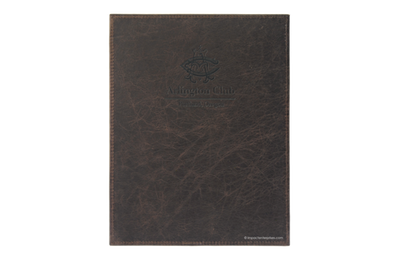 Leather menu cover with sewn edges and blind debossed artwork.