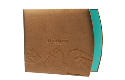 Bronze metallic faux leather guest service directory cover with crescent shaped right edge.