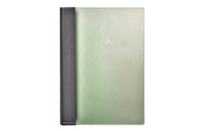 Light green frosted acrylic menu cover with faux leather quarterbind spine.