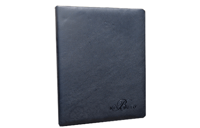 Black leather menu cover with clear foil debossed logo.