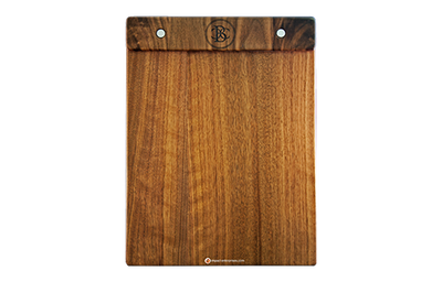 Solid natural walnut clipboard style menu with a removable logo panel and laser-engraved artwork.